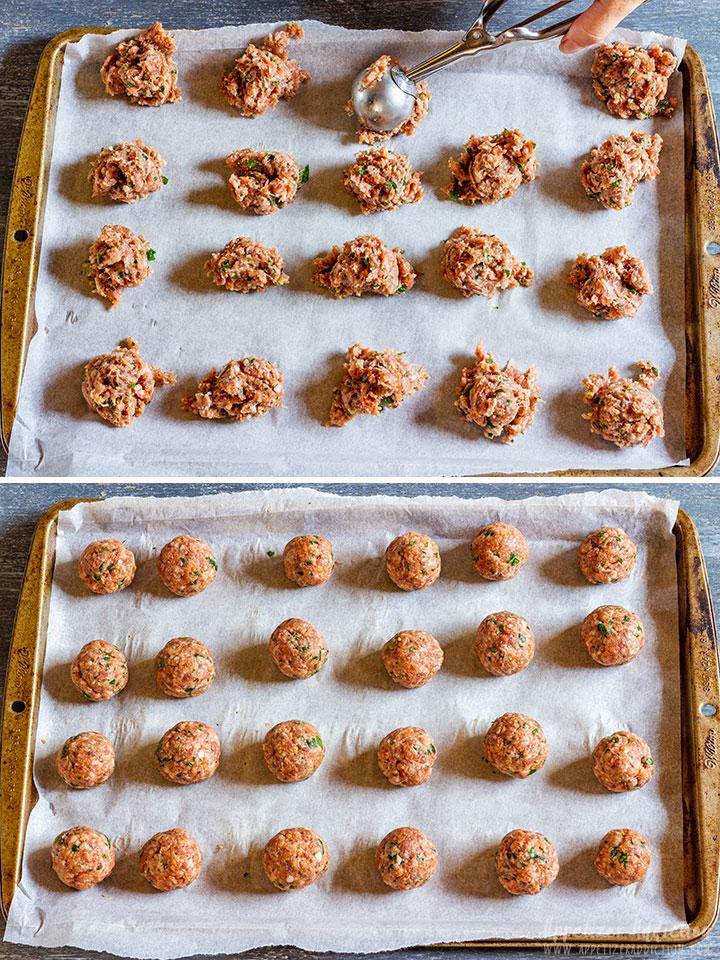 Making cranberry meatballs step 2
