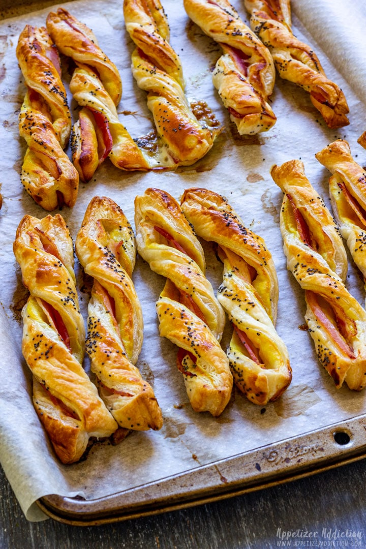 Homemade puff pastry twists with bacon