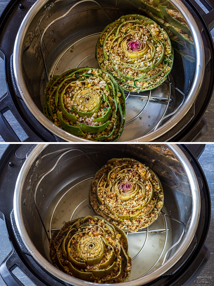 Artichoke before and after cooking