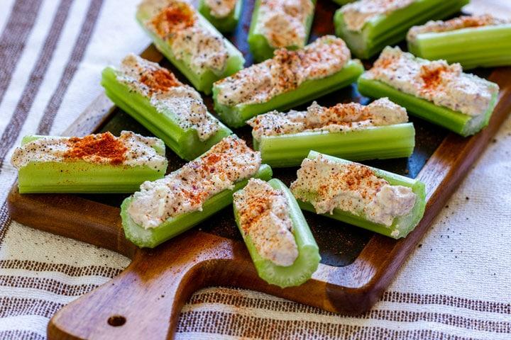 Vegetarian stuffed celery appetizers