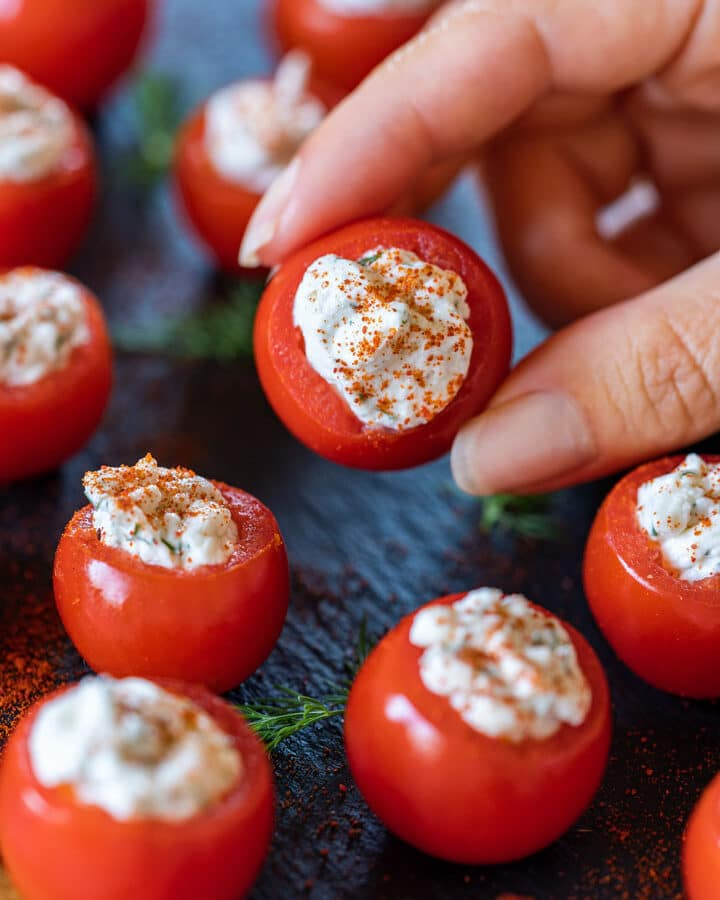 Stuffed cherry tomatoes with cream cheese
