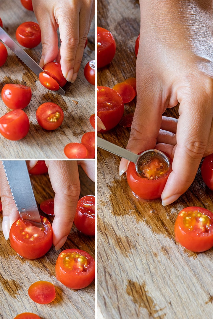 Step by step images showing how to prepare cherry tomatoes for filling
