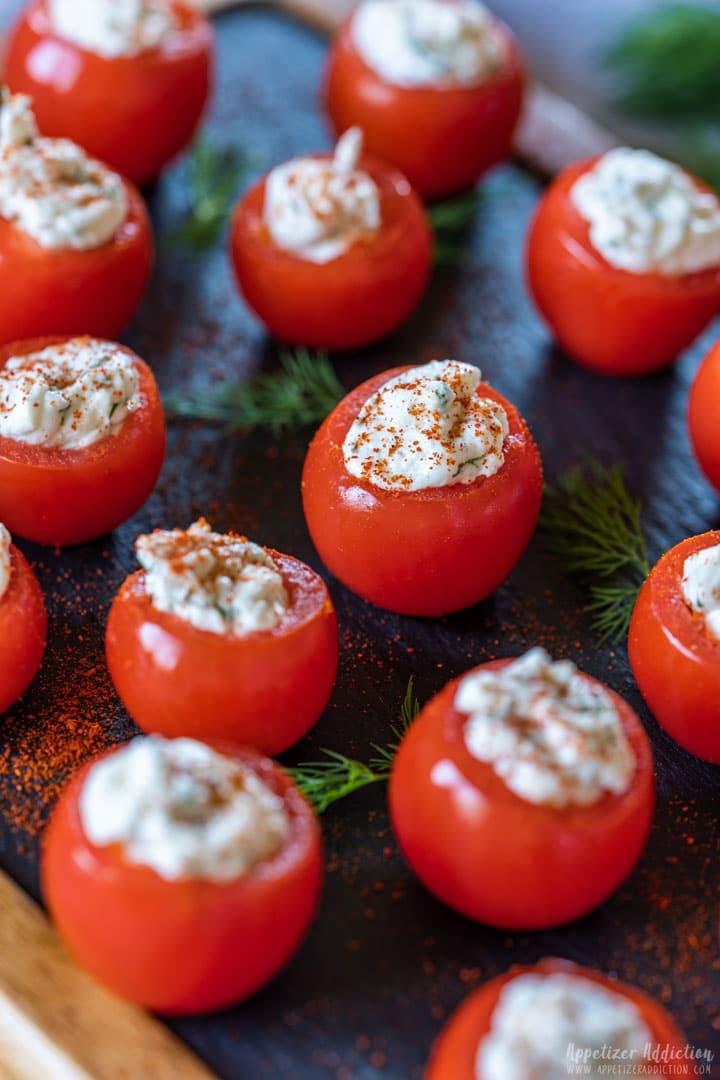 Bite-size stuffed cherry tomatoes appetizers