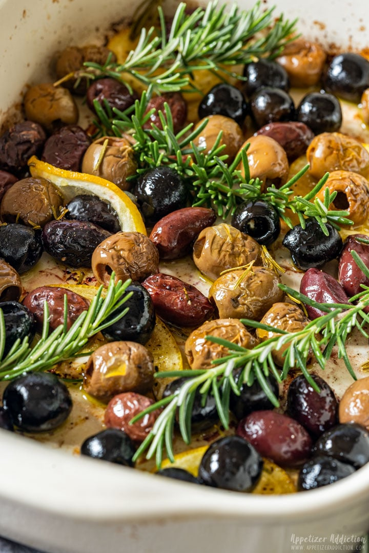 Oven baked olives in baking dish