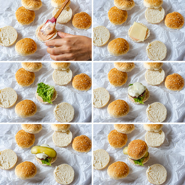 Step by step image collage showing how to assemble cheeseburger