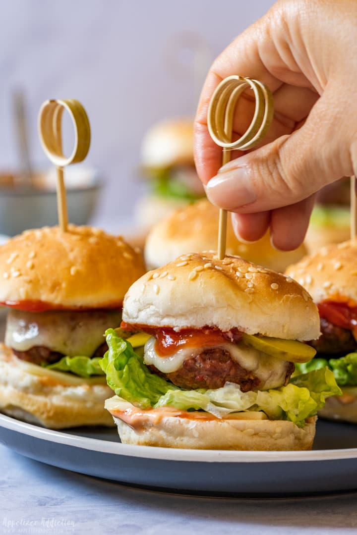 Mini cheeseburger appetizers on a stick