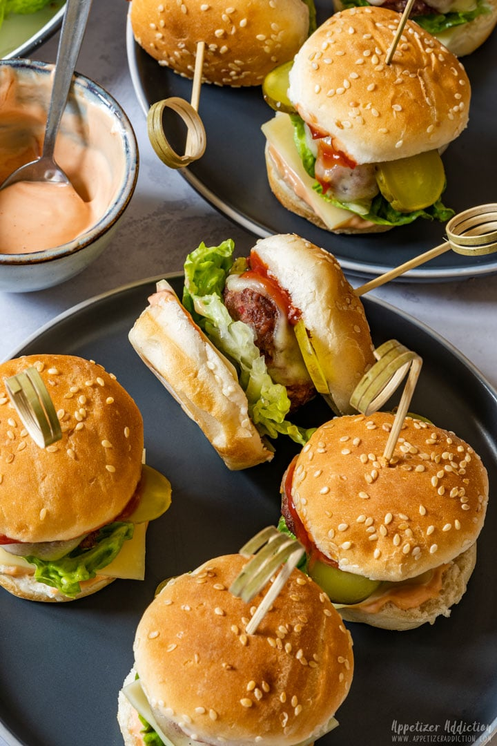 Mini cheeseburger sliders ready to be eaten