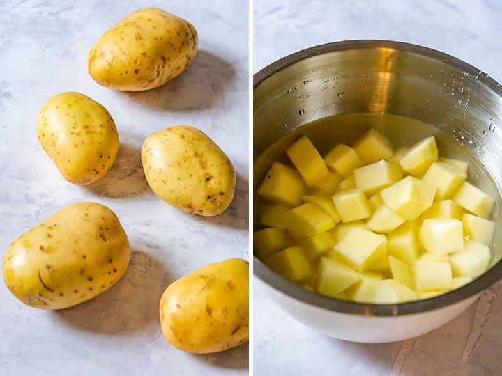 Full potatoes and diced potatoes